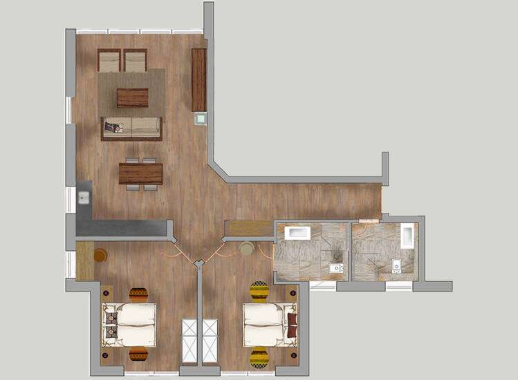 Grundriss Apartments Nr. 4, 9, 15+20| DELUXE